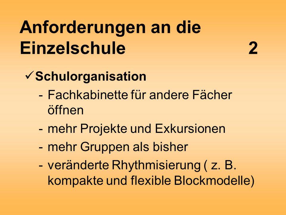 Anforderungen an die Einzelschule2 Schulorganisation -Fachkabinette für andere Fächer öffnen -mehr Projekte und Exkursionen -mehr Gruppen als bisher -veränderte Rhythmisierung ( z.