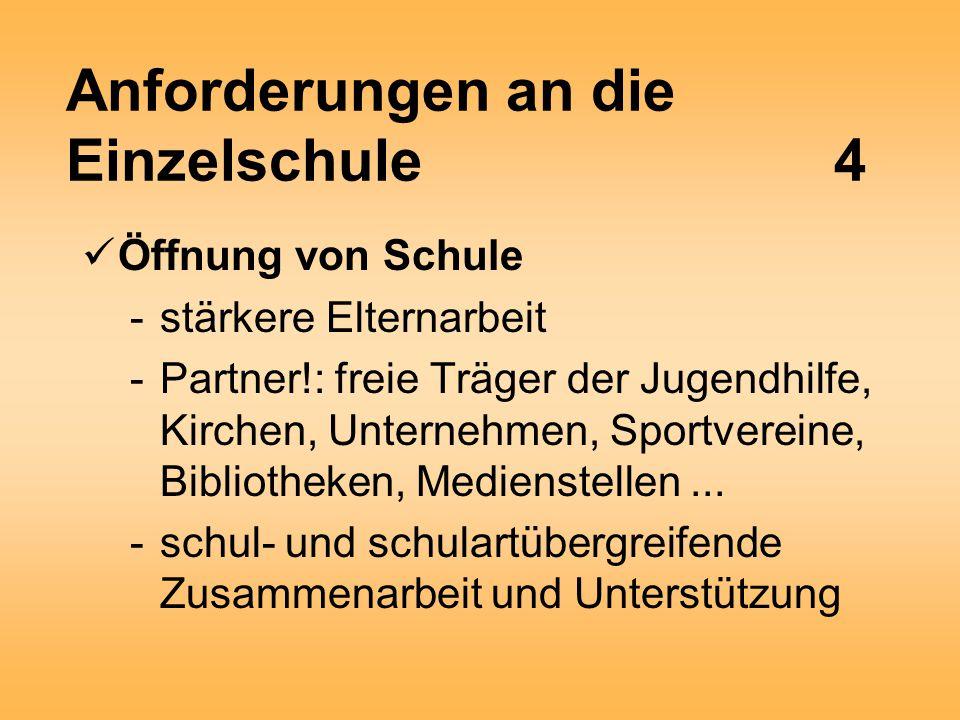 Anforderungen an die Einzelschule4 Öffnung von Schule -stärkere Elternarbeit -Partner!: freie Träger der Jugendhilfe, Kirchen, Unternehmen, Sportvereine, Bibliotheken, Medienstellen...