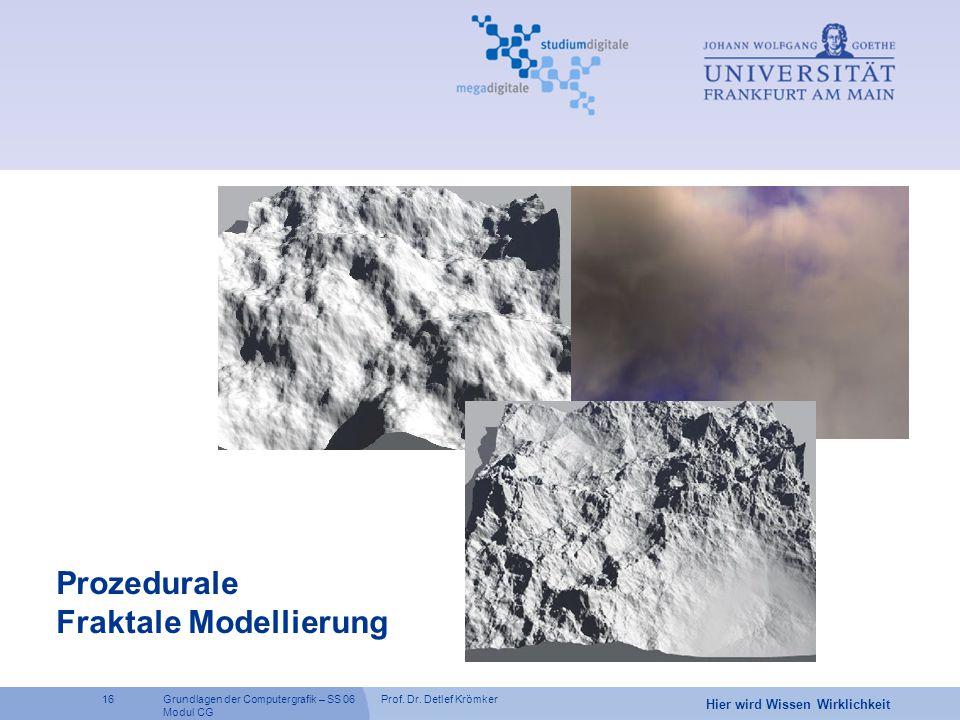 Prof. Dr. Detlef Krömker16 Hier wird Wissen Wirklichkeit Grundlagen der Computergrafik – SS 06 Modul CG Prozedurale Fraktale Modellierung