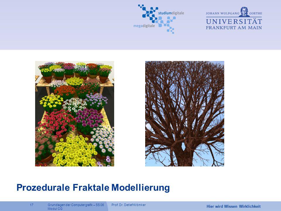 Prof. Dr. Detlef Krömker17 Hier wird Wissen Wirklichkeit Grundlagen der Computergrafik – SS 06 Modul CG Prozedurale Fraktale Modellierung