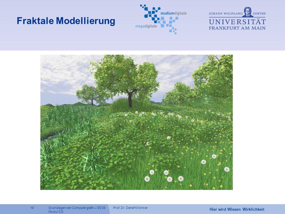 Prof. Dr. Detlef Krömker18 Hier wird Wissen Wirklichkeit Grundlagen der Computergrafik – SS 06 Modul CG Fraktale Modellierung