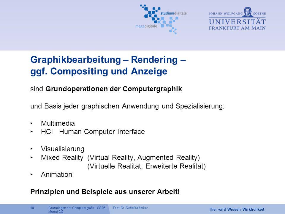 Prof. Dr. Detlef Krömker19 Hier wird Wissen Wirklichkeit Grundlagen der Computergrafik – SS 06 Modul CG Graphikbearbeitung – Rendering – ggf. Composit