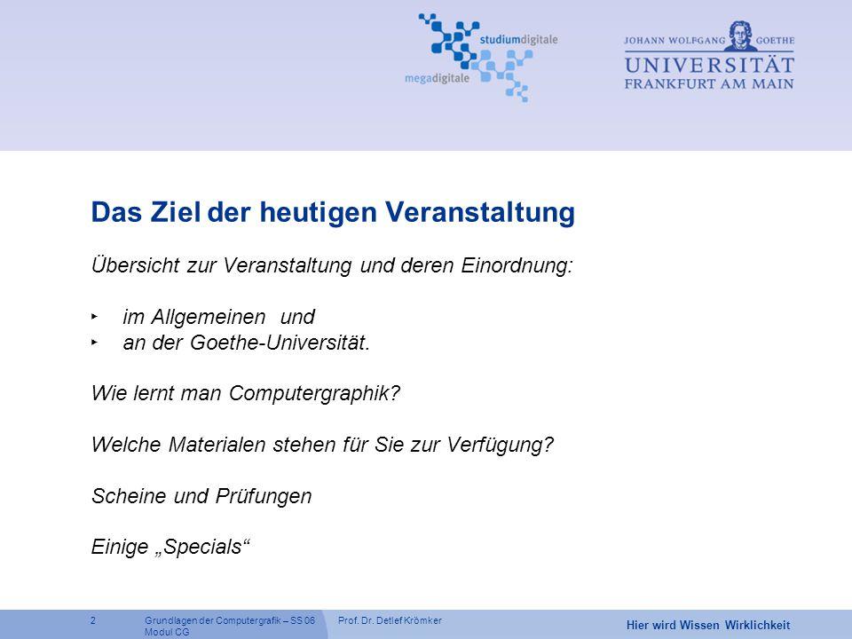 Prof. Dr. Detlef Krömker2 Hier wird Wissen Wirklichkeit Grundlagen der Computergrafik – SS 06 Modul CG Das Ziel der heutigen Veranstaltung Übersicht z