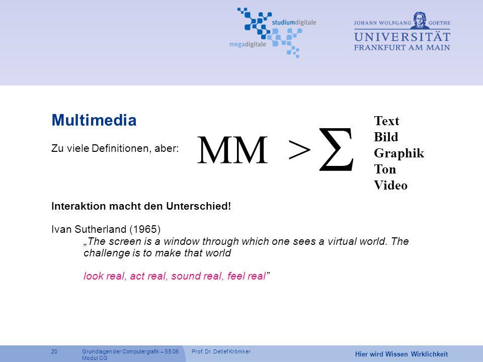 Prof. Dr. Detlef Krömker20 Hier wird Wissen Wirklichkeit Grundlagen der Computergrafik – SS 06 Modul CG Zu viele Definitionen, aber: Interaktion macht