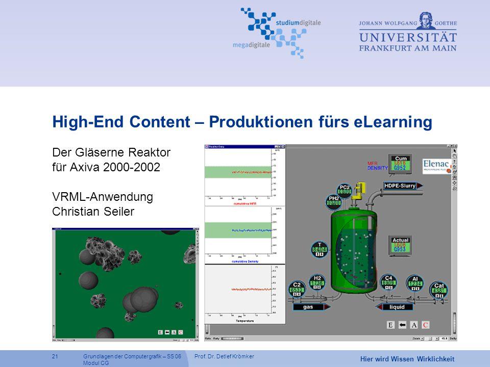 Prof. Dr. Detlef Krömker21 Hier wird Wissen Wirklichkeit Grundlagen der Computergrafik – SS 06 Modul CG Der Gläserne Reaktor für Axiva 2000-2002 VRML-