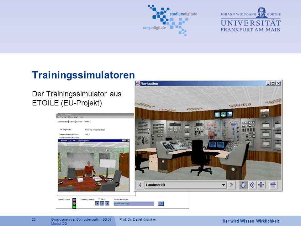 Prof. Dr. Detlef Krömker22 Hier wird Wissen Wirklichkeit Grundlagen der Computergrafik – SS 06 Modul CG Trainingssimulatoren Der Trainingssimulator au