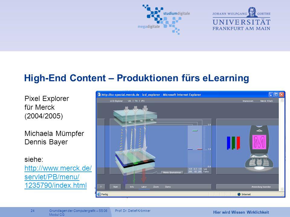 Prof. Dr. Detlef Krömker24 Hier wird Wissen Wirklichkeit Grundlagen der Computergrafik – SS 06 Modul CG High-End Content – Produktionen fürs eLearning