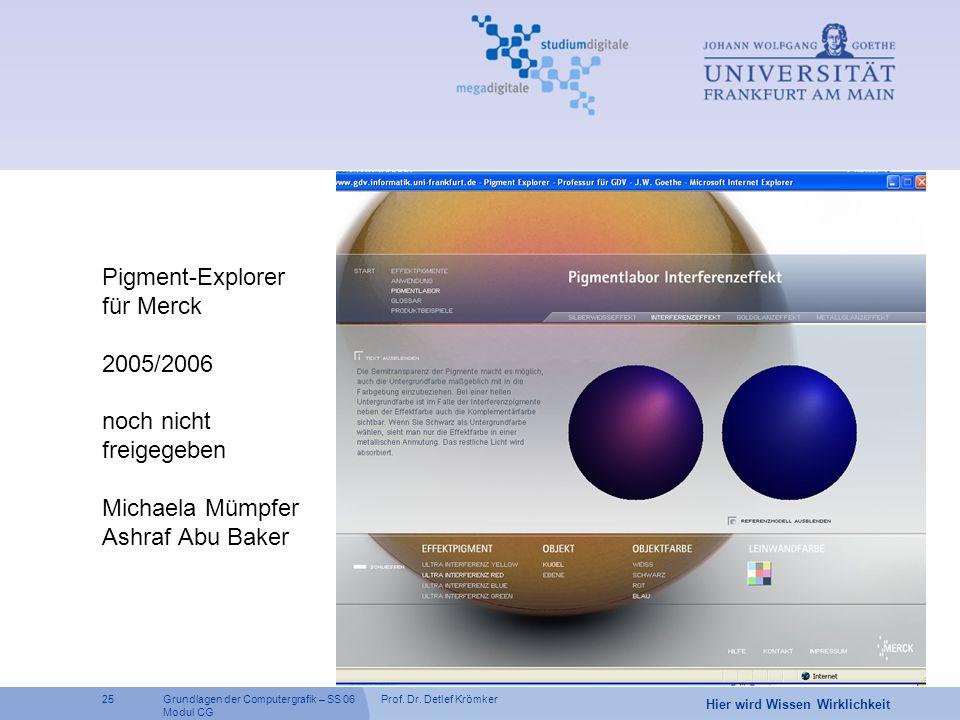 Prof. Dr. Detlef Krömker25 Hier wird Wissen Wirklichkeit Grundlagen der Computergrafik – SS 06 Modul CG Pigment-Explorer für Merck 2005/2006 noch nich