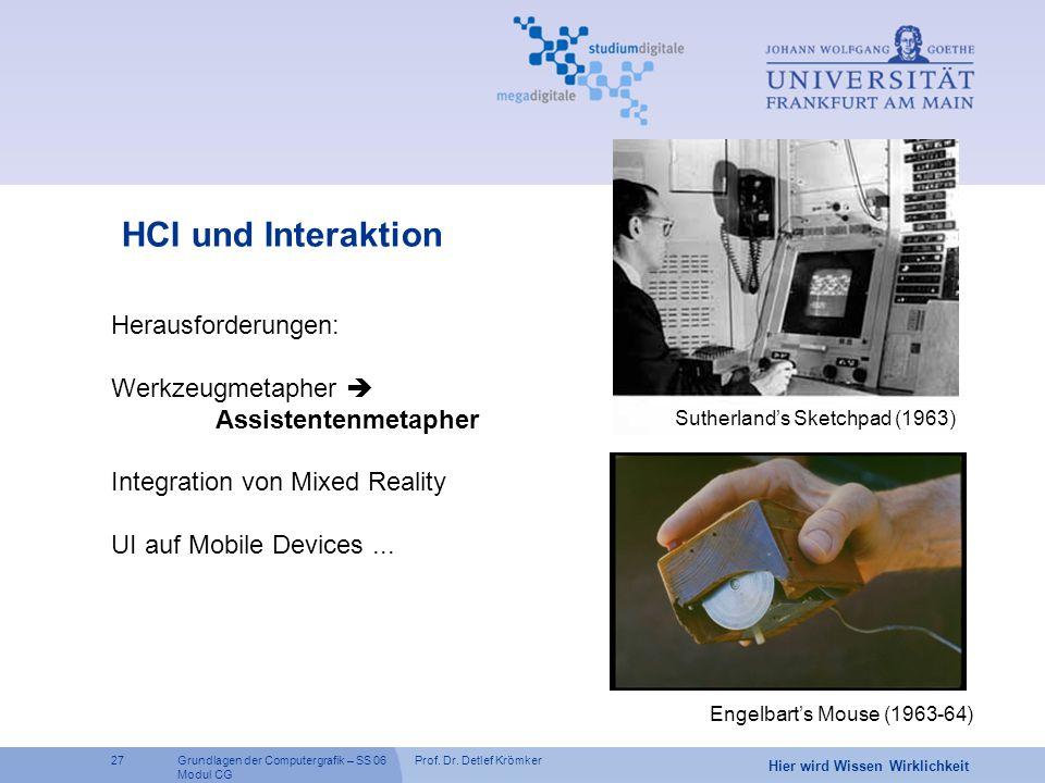Prof. Dr. Detlef Krömker27 Hier wird Wissen Wirklichkeit Grundlagen der Computergrafik – SS 06 Modul CG HCI und Interaktion Sutherland's Sketchpad (19