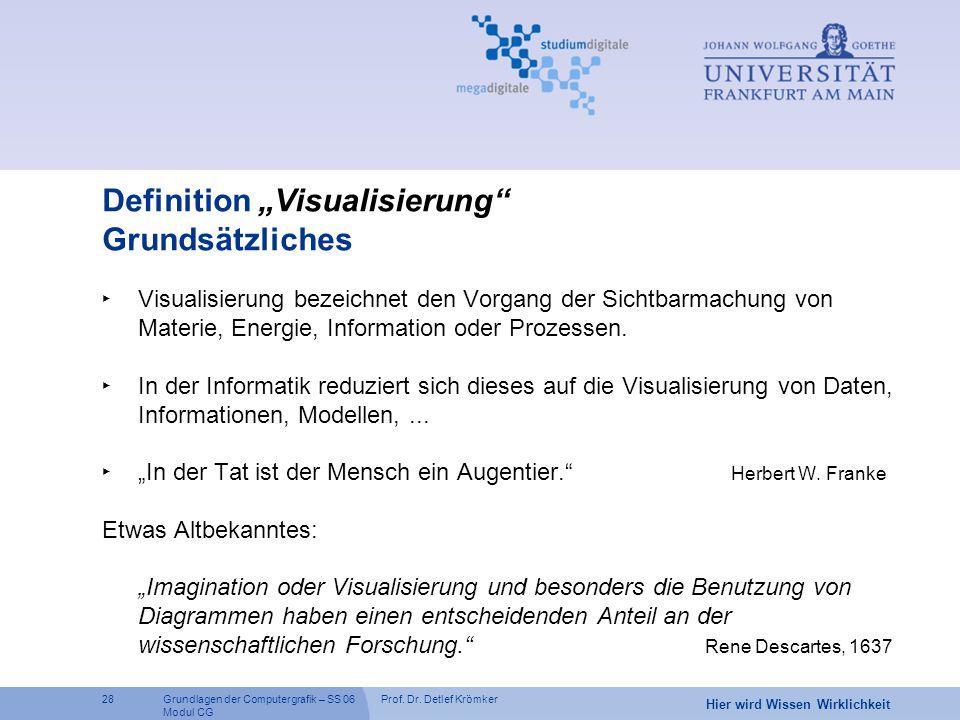 """Prof. Dr. Detlef Krömker28 Hier wird Wissen Wirklichkeit Grundlagen der Computergrafik – SS 06 Modul CG Definition """"Visualisierung"""" Grundsätzliches ‣"""