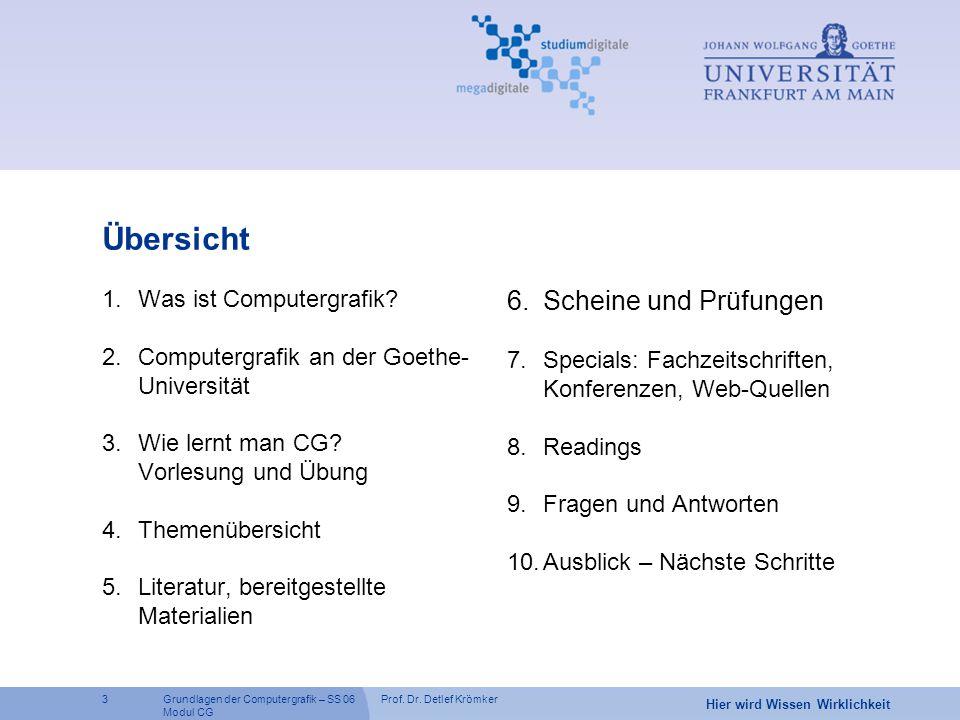 Prof. Dr. Detlef Krömker3 Hier wird Wissen Wirklichkeit Grundlagen der Computergrafik – SS 06 Modul CG Übersicht 1.Was ist Computergrafik? 2.Computerg