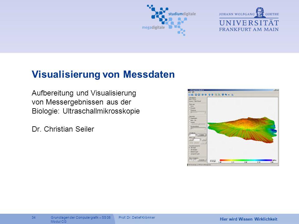Prof. Dr. Detlef Krömker34 Hier wird Wissen Wirklichkeit Grundlagen der Computergrafik – SS 06 Modul CG Visualisierung von Messdaten Aufbereitung und