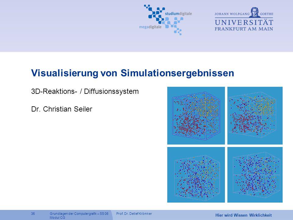 Prof. Dr. Detlef Krömker35 Hier wird Wissen Wirklichkeit Grundlagen der Computergrafik – SS 06 Modul CG Visualisierung von Simulationsergebnissen 3D-R