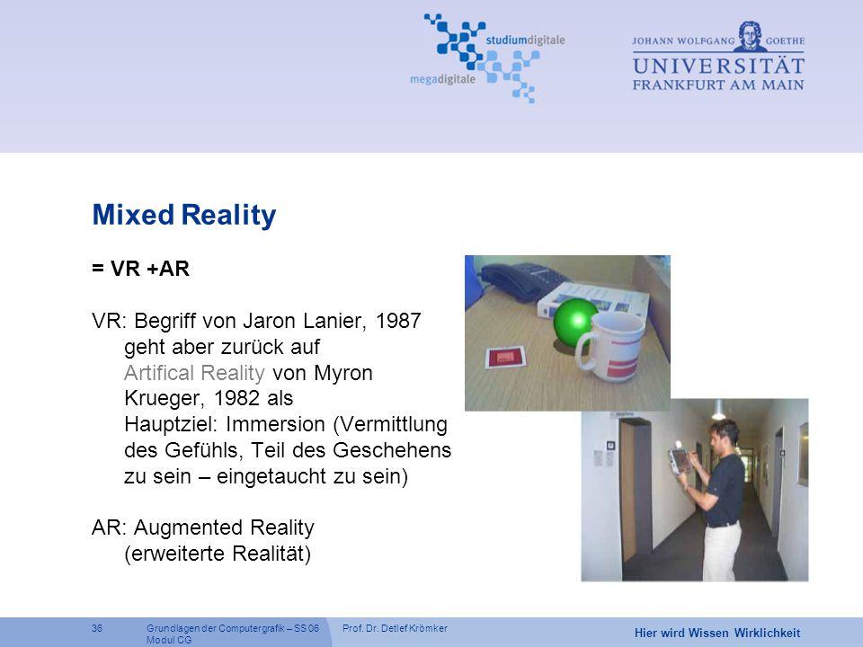 Prof. Dr. Detlef Krömker36 Hier wird Wissen Wirklichkeit Grundlagen der Computergrafik – SS 06 Modul CG Mixed Reality = VR +AR VR: Begriff von Jaron L