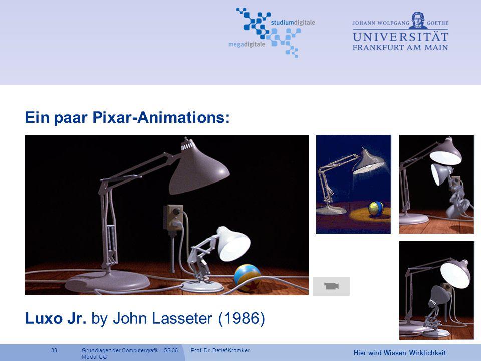 Prof. Dr. Detlef Krömker38 Hier wird Wissen Wirklichkeit Grundlagen der Computergrafik – SS 06 Modul CG Luxo Jr. by John Lasseter (1986) Ein paar Pixa