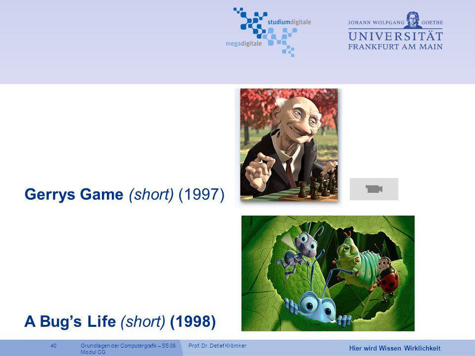 Prof. Dr. Detlef Krömker40 Hier wird Wissen Wirklichkeit Grundlagen der Computergrafik – SS 06 Modul CG Gerrys Game (short) (1997) A Bug's Life (short