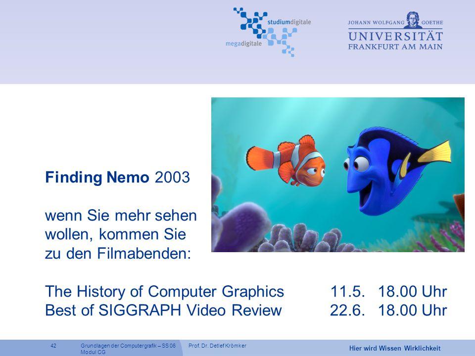 Prof. Dr. Detlef Krömker42 Hier wird Wissen Wirklichkeit Grundlagen der Computergrafik – SS 06 Modul CG Finding Nemo 2003 wenn Sie mehr sehen wollen,