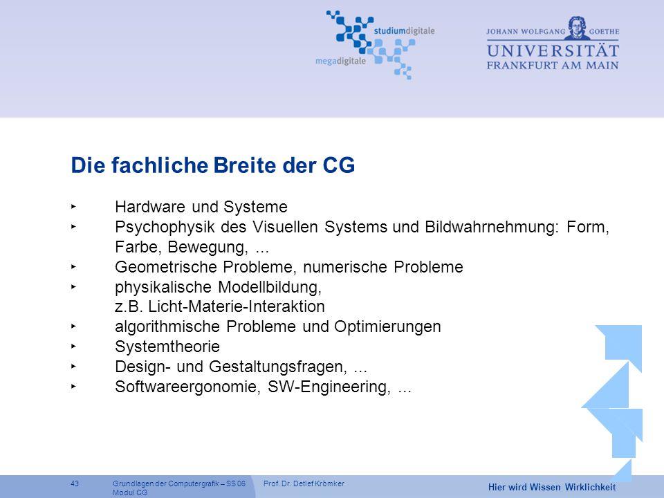 Prof. Dr. Detlef Krömker43 Hier wird Wissen Wirklichkeit Grundlagen der Computergrafik – SS 06 Modul CG Die fachliche Breite der CG ‣ Hardware und Sys
