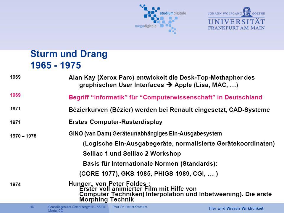 Prof. Dr. Detlef Krömker46 Hier wird Wissen Wirklichkeit Grundlagen der Computergrafik – SS 06 Modul CG Sturm und Drang 1965 - 1975 1969 1971 1970 – 1