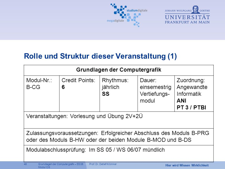 Prof. Dr. Detlef Krömker48 Hier wird Wissen Wirklichkeit Grundlagen der Computergrafik – SS 06 Modul CG Rolle und Struktur dieser Veranstaltung (1) Gr