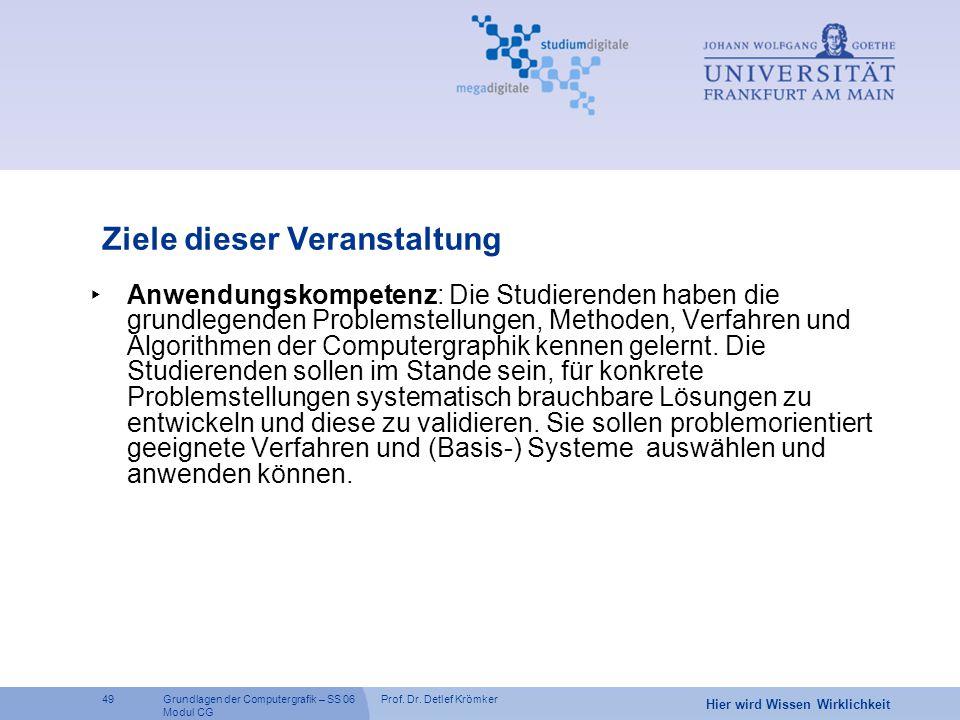 Prof. Dr. Detlef Krömker49 Hier wird Wissen Wirklichkeit Grundlagen der Computergrafik – SS 06 Modul CG Ziele dieser Veranstaltung ‣ Anwendungskompete