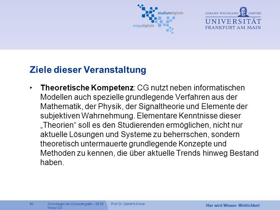 Prof. Dr. Detlef Krömker50 Hier wird Wissen Wirklichkeit Grundlagen der Computergrafik – SS 06 Modul CG Ziele dieser Veranstaltung ‣ Theoretische Komp