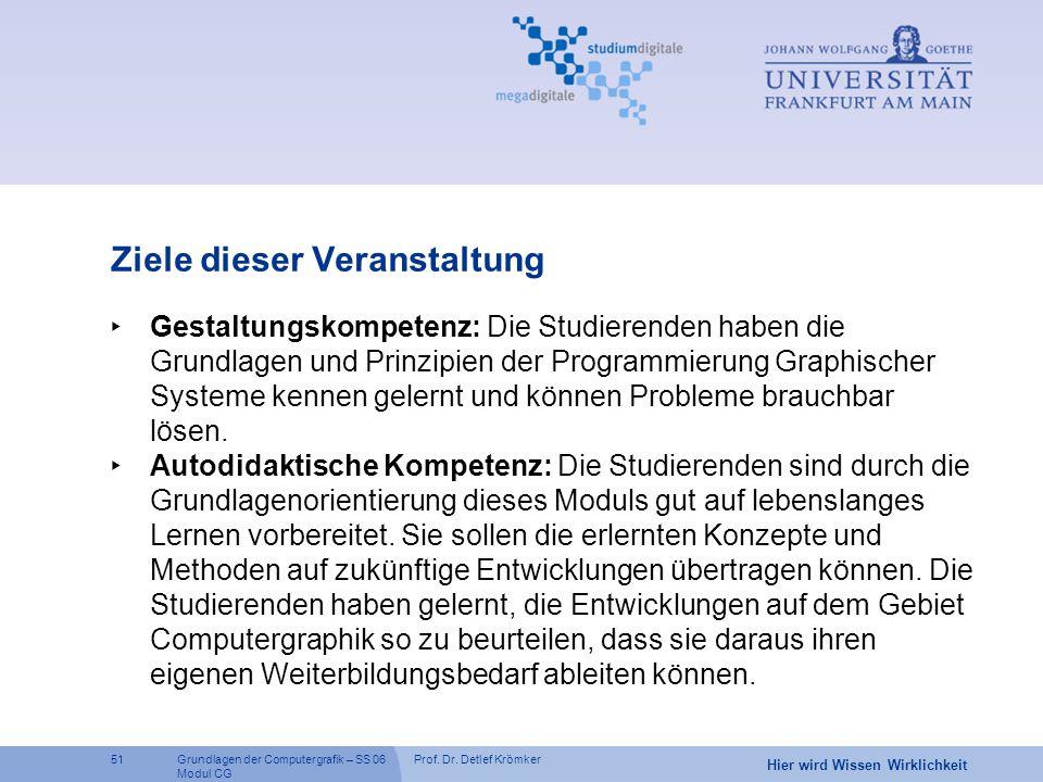 Prof. Dr. Detlef Krömker51 Hier wird Wissen Wirklichkeit Grundlagen der Computergrafik – SS 06 Modul CG Ziele dieser Veranstaltung ‣ Gestaltungskompet