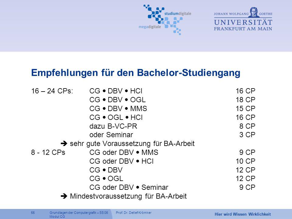 Prof. Dr. Detlef Krömker55 Hier wird Wissen Wirklichkeit Grundlagen der Computergrafik – SS 06 Modul CG Empfehlungen für den Bachelor-Studiengang 16 –