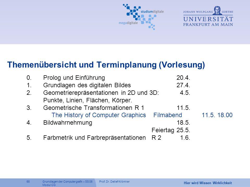 Prof. Dr. Detlef Krömker56 Hier wird Wissen Wirklichkeit Grundlagen der Computergrafik – SS 06 Modul CG Themenübersicht und Terminplanung (Vorlesung)