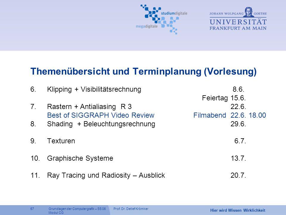 Prof. Dr. Detlef Krömker57 Hier wird Wissen Wirklichkeit Grundlagen der Computergrafik – SS 06 Modul CG Themenübersicht und Terminplanung (Vorlesung)