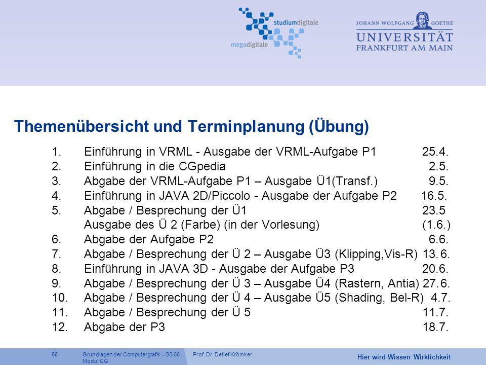 Prof. Dr. Detlef Krömker58 Hier wird Wissen Wirklichkeit Grundlagen der Computergrafik – SS 06 Modul CG Themenübersicht und Terminplanung (Übung) 1.Ei