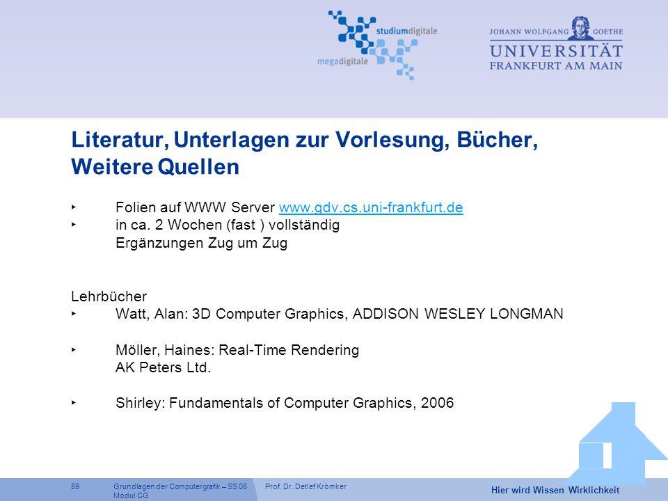 Prof. Dr. Detlef Krömker59 Hier wird Wissen Wirklichkeit Grundlagen der Computergrafik – SS 06 Modul CG Literatur, Unterlagen zur Vorlesung, Bücher, W