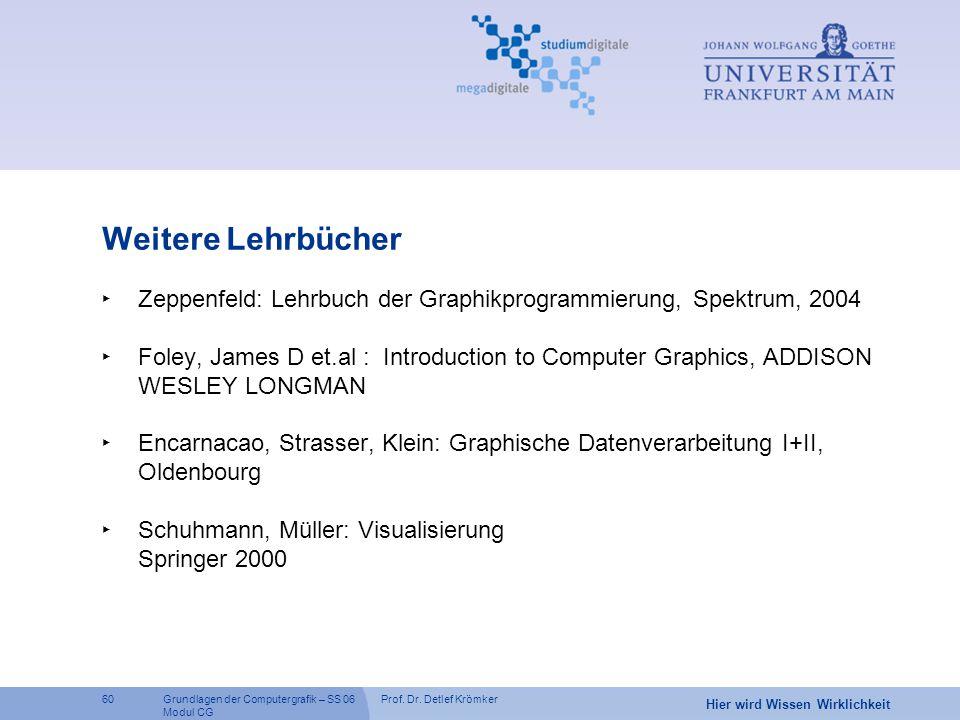 Prof. Dr. Detlef Krömker60 Hier wird Wissen Wirklichkeit Grundlagen der Computergrafik – SS 06 Modul CG Weitere Lehrbücher ‣ Zeppenfeld: Lehrbuch der