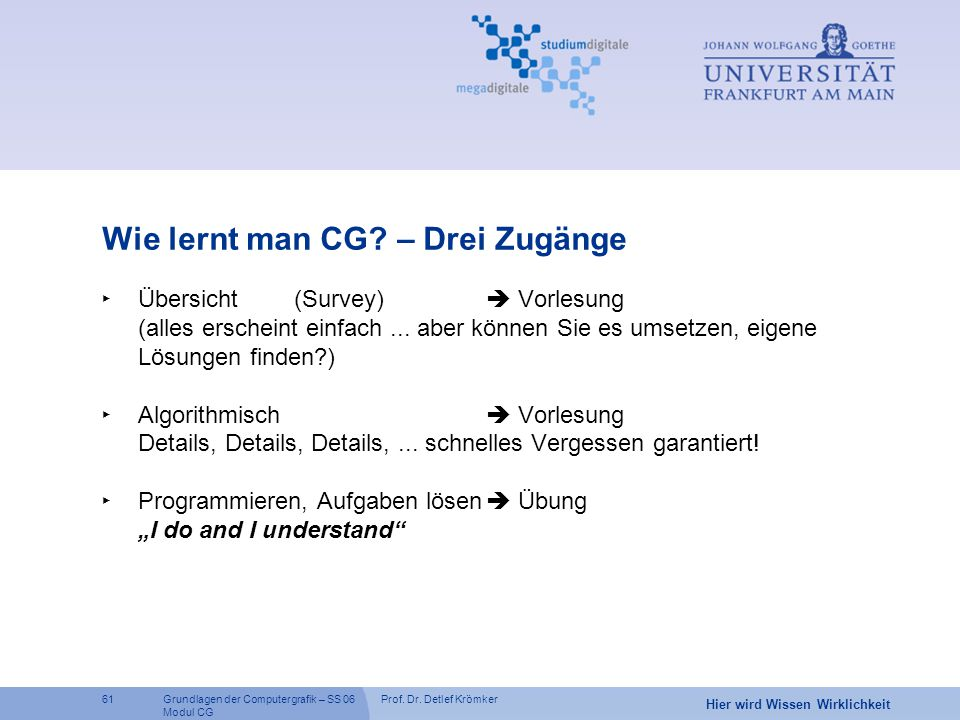 Prof. Dr. Detlef Krömker61 Hier wird Wissen Wirklichkeit Grundlagen der Computergrafik – SS 06 Modul CG Wie lernt man CG? – Drei Zugänge ‣ Übersicht(S