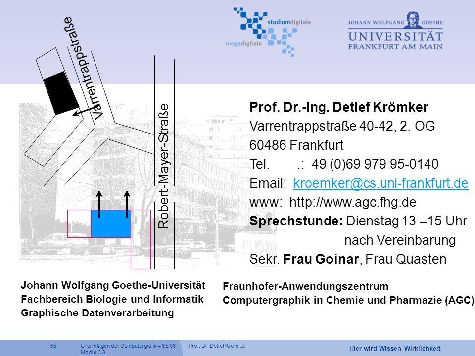 Prof. Dr. Detlef Krömker65 Hier wird Wissen Wirklichkeit Grundlagen der Computergrafik – SS 06 Modul CG Wo findet man uns? Prof. Dr.-Ing. Detlef Krömk
