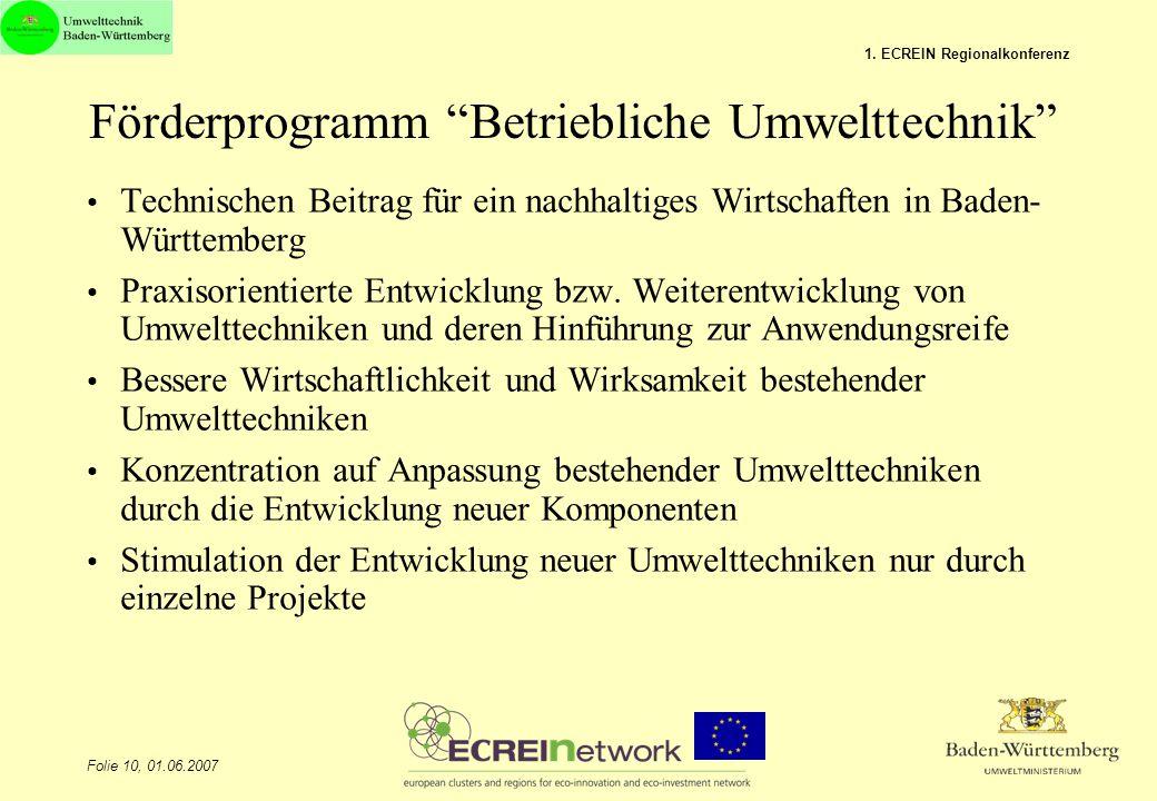 """Folie 10, 01.06.2007 1. ECREIN Regionalkonferenz Förderprogramm """"Betriebliche Umwelttechnik"""" Technischen Beitrag für ein nachhaltiges Wirtschaften in"""