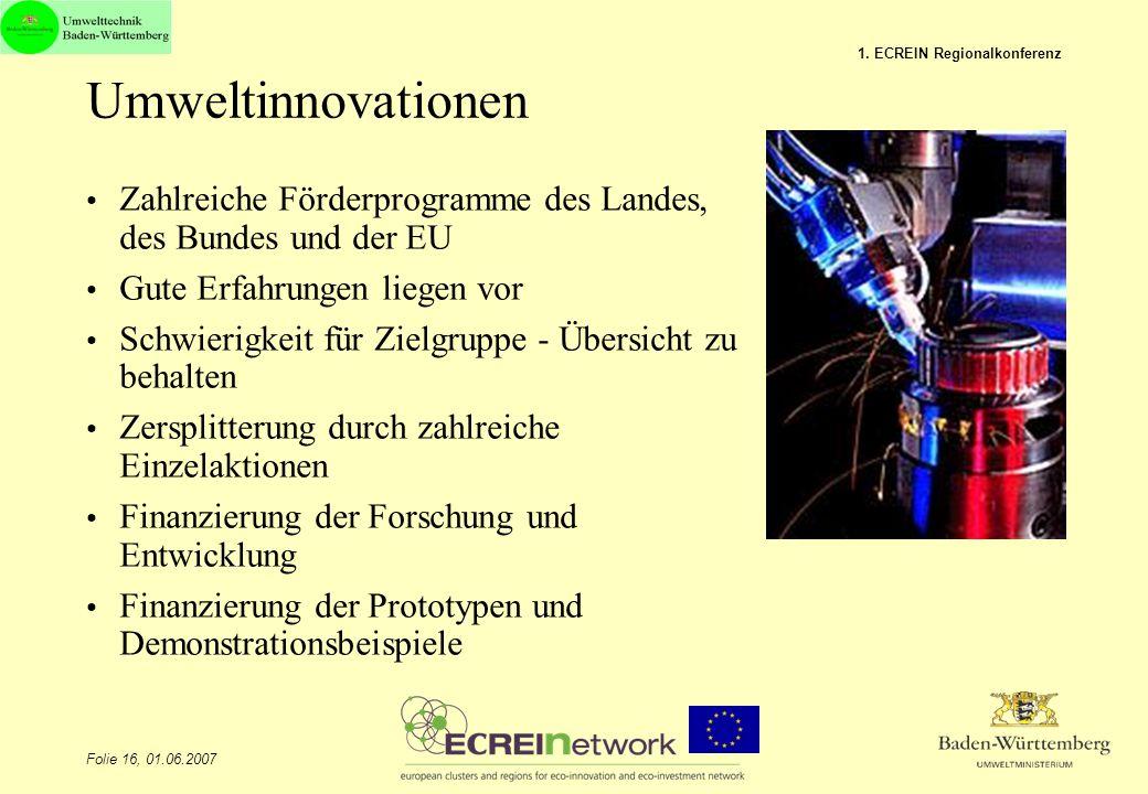 Folie 16, 01.06.2007 1. ECREIN Regionalkonferenz Umweltinnovationen Zahlreiche Förderprogramme des Landes, des Bundes und der EU Gute Erfahrungen lieg