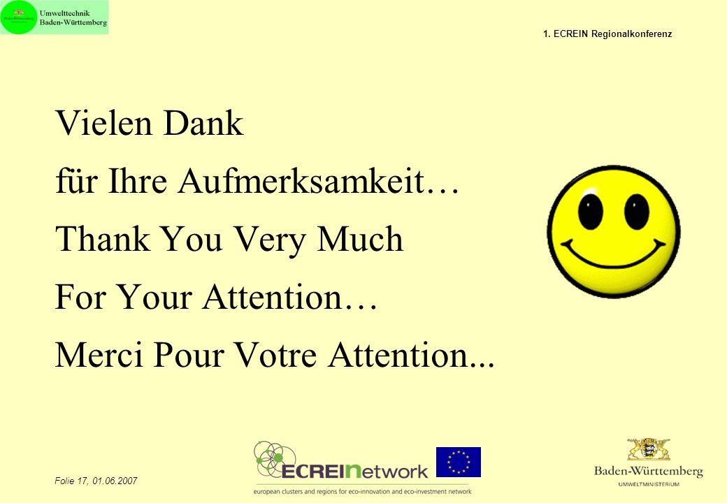 Folie 17, 01.06.2007 1. ECREIN Regionalkonferenz Vielen Dank für Ihre Aufmerksamkeit… Thank You Very Much For Your Attention… Merci Pour Votre Attenti