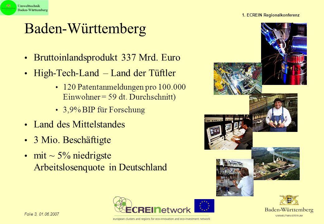 Folie 3, 01.06.2007 1. ECREIN Regionalkonferenz Baden-Württemberg Bruttoinlandsprodukt 337 Mrd. Euro High-Tech-Land – Land der Tüftler 120 Patentanmel
