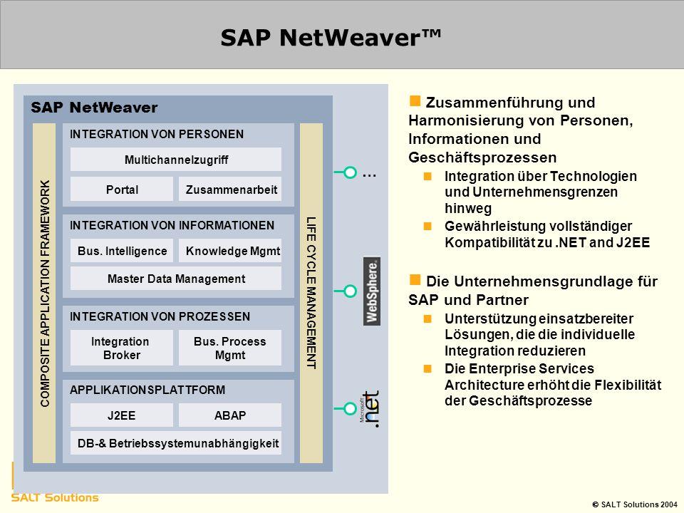  SALT Solutions 2004 SAP NetWeaver™ Zusammenführung und Harmonisierung von Personen, Informationen und Geschäftsprozessen Integration über Technologi