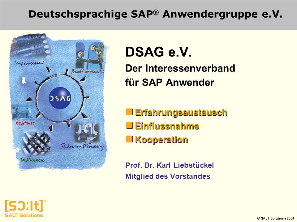  SALT Solutions 2004 Deutschsprachige SAP ® Anwendergruppe e.V. DSAG e.V. Der Interessenverband für SAP Anwender Erfahrungsaustausch Erfahrungsaustau