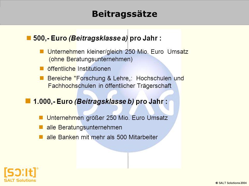  SALT Solutions 2004 Beitragssätze Unternehmen kleiner/gleich 250 Mio. Euro Umsatz (ohne Beratungsunternehmen) öffentliche Institutionen Bereiche