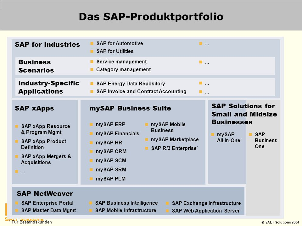  SALT Solutions 2004 mySAP Business Suite SAP NetWeaver mySAP SCM mySAP PLM mySAP SRM mySAP CRM mySAP ERP Financials Human Resources Corporate Services Operations mySAP Business Intelligence mySAP Customer Relationship Mgmnt.