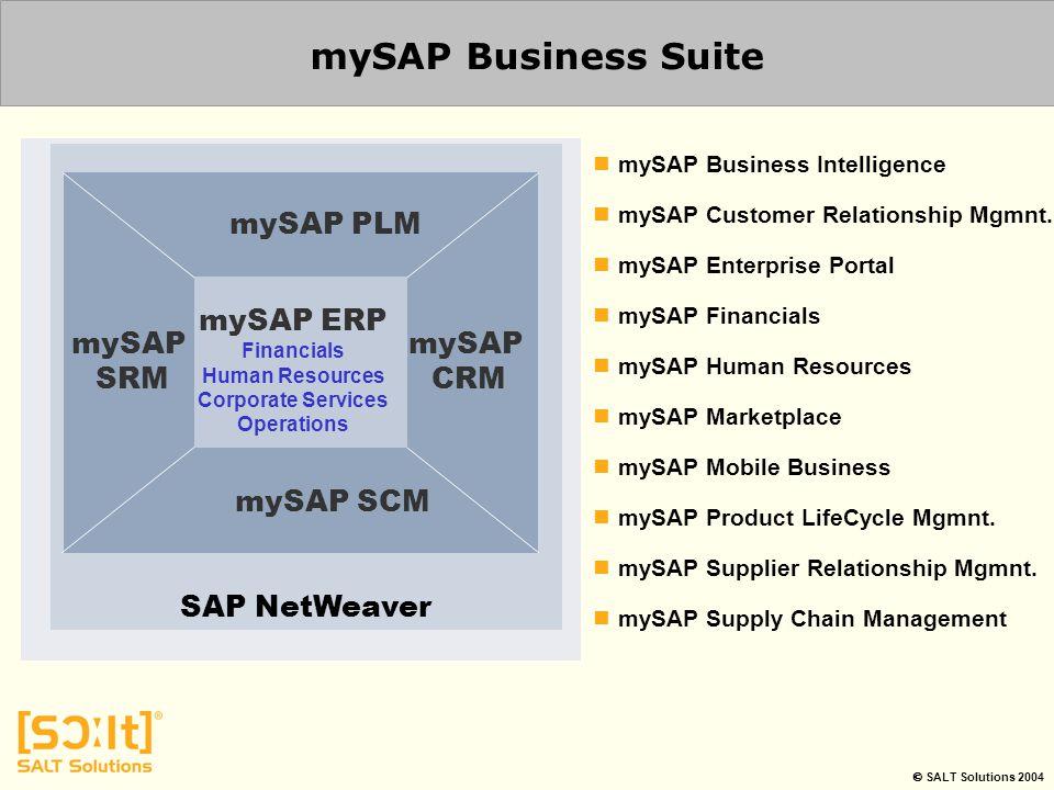  SALT Solutions 2004 mySAP Business Suite SAP NetWeaver mySAP SCM mySAP PLM mySAP SRM mySAP CRM mySAP ERP Financials Human Resources Corporate Servic