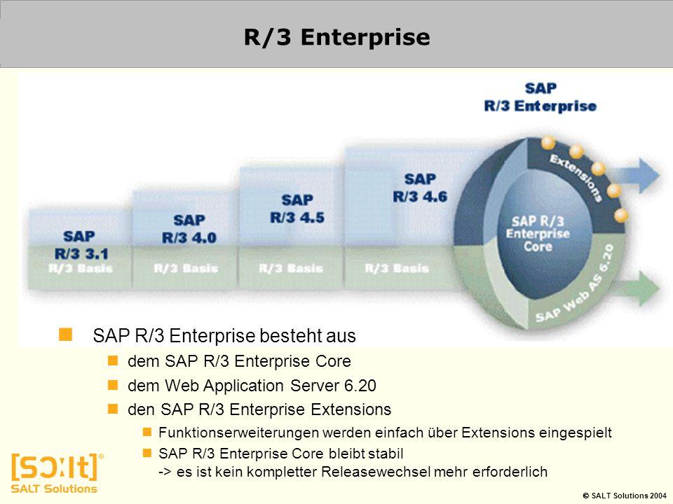  SALT Solutions 2004 R/3 Enterprise SAP R/3 Enterprise besteht aus dem SAP R/3 Enterprise Core dem Web Application Server 6.20 den SAP R/3 Enterprise