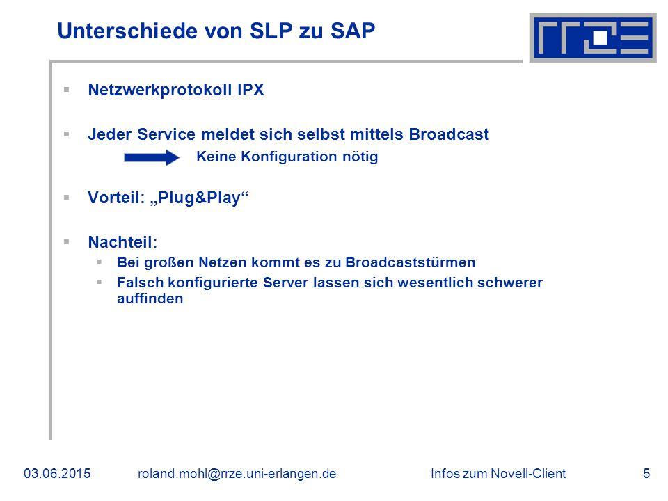Infos zum Novell-Client03.06.2015roland.mohl@rrze.uni-erlangen.de5 Unterschiede von SLP zu SAP  Netzwerkprotokoll IPX  Jeder Service meldet sich sel
