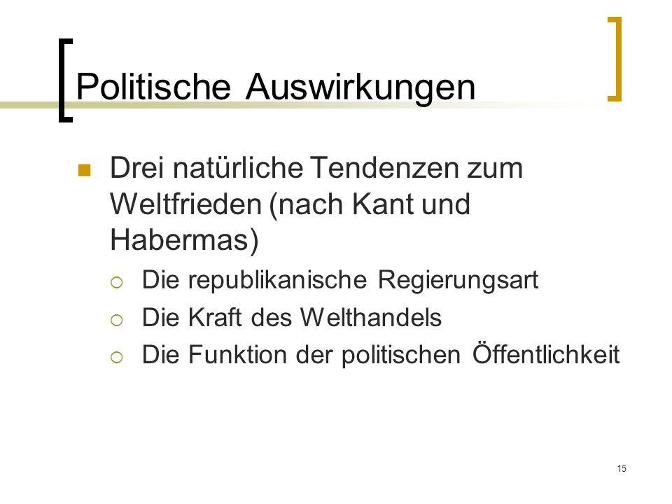 15 Politische Auswirkungen Drei natürliche Tendenzen zum Weltfrieden (nach Kant und Habermas)  Die republikanische Regierungsart  Die Kraft des Welthandels  Die Funktion der politischen Öffentlichkeit