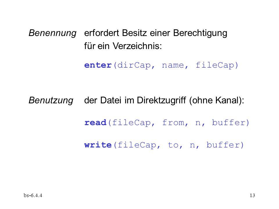 bs-6.4.413 Benutzungder Datei im Direktzugriff (ohne Kanal): read(fileCap, from, n, buffer) write(fileCap, to, n, buffer) Benennungerfordert Besitz ei