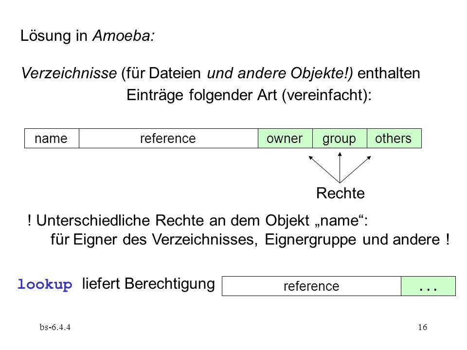 bs-6.4.416 Lösung in Amoeba: Verzeichnisse (für Dateien und andere Objekte!) enthalten Einträge folgender Art (vereinfacht): namereferenceownergroupot