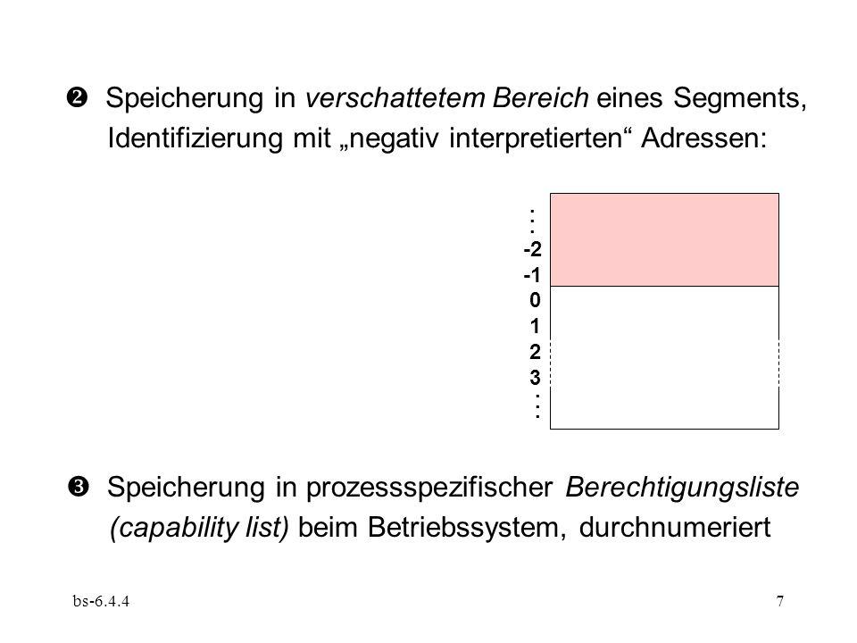"""bs-6.4.47  Speicherung in verschattetem Bereich eines Segments, Identifizierung mit """"negativ interpretierten"""" Adressen:  Speicherung in prozessspezi"""